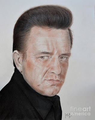Drawing - Singing Legend Johnny Cash by Jim Fitzpatrick