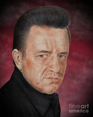 Drawing - Singing Legend Johnny Cash Version II by Jim Fitzpatrick