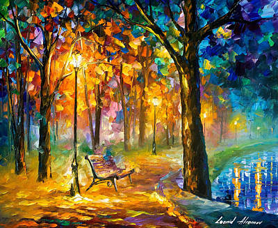 Singing Park - Palette Knife Oil Painting On Canvas By Leonid Afremov Original by Leonid Afremov