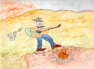 Painting - Singing The Cattle In by Jim Taylor