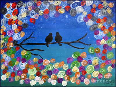 Painting - Singing To The Stars Tree Bird Art Painting Print by Ella Kaye Dickey