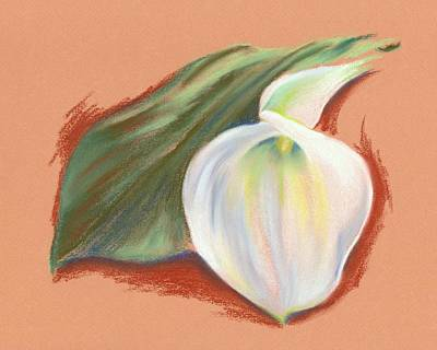Pastel - Single Calla Lily And Leaf by MM Anderson