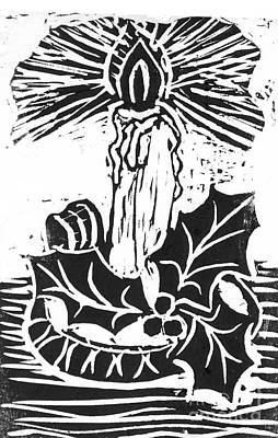 Single Candle With Holy Sprig  Block Print Art Print by Ellen Miffitt