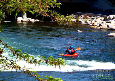 Photograph - Single Kayak In Truckee River by Bobbee Rickard