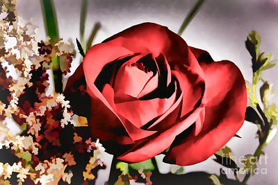 Photograph - Single Open Red Rose Flower Painting In Color 3186.02 by M K Miller