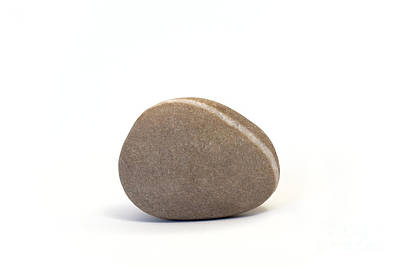 Nature Study Digital Art - Single Pebble Against White Background by Natalie Kinnear