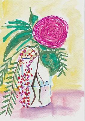 Boho Painting - Single Pink Flower by Rosalina Bojadschijew