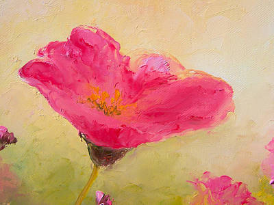 One Single Pink Poppy Flower Painting - Single Pink Poppy by Jan Matson