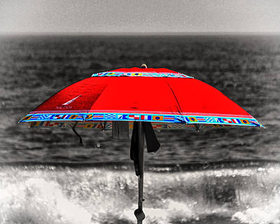 Photograph - Single Red Beach Umbrella by Bill Swartwout