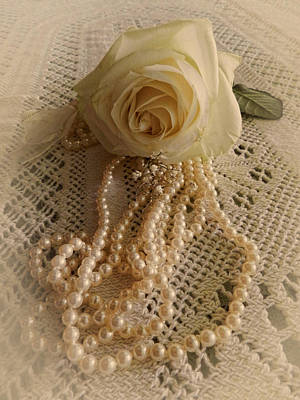 Photograph - Single Rose And Pearls by Grace Dillon