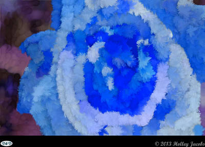 Digital Art - Single Rose Blue by Holley Jacobs