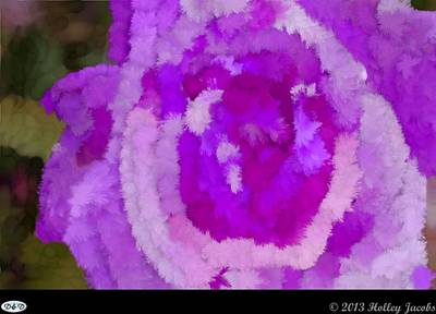 Digital Art - Single Rose Purple by Holley Jacobs