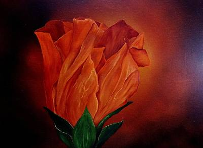 Painting - Single Rose by Valorie Cross