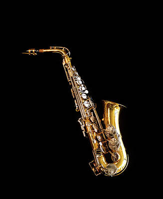 Saxophone Photograph - Single Saxophone Against Black by Vintage Images