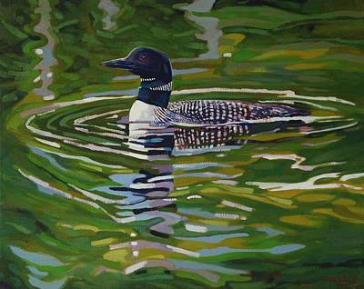 Birder Painting - Singleton Loon by Phil Chadwick