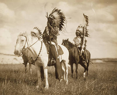 Native American War Horse Photograph - Sioux Chiefs  by Unknown
