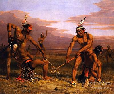 Dea Painting - Sioux - Playing Ball by Pg Reproductions