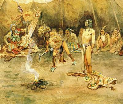 Indian Brave Digital Art - Sioux Torturing A Blackfoot Brave by Charles Russell