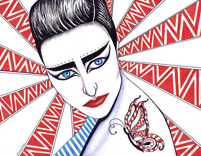 Musicians Drawings - Siouxsie Sioux by Shawna Rowe