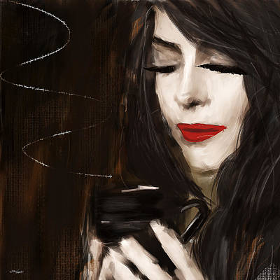 Coffee Painting - Sip Of Relaxation by Lourry Legarde