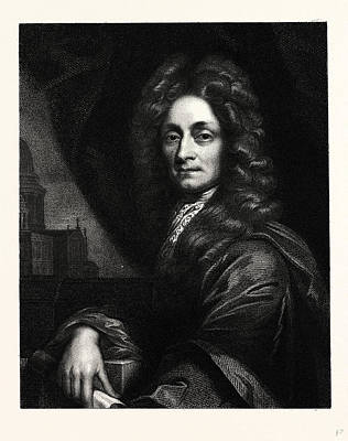 Wren Drawing - Sir Christopher Wren by English School