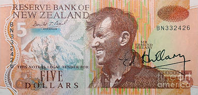 Photograph - Sir Edmund Hillary Signed Banknote by Rudi Prott