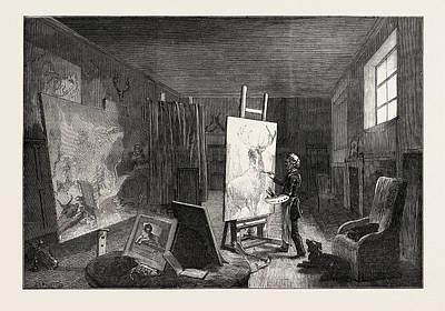Landseer Wall Art - Drawing - Sir Edwin Landseers Studio by English School