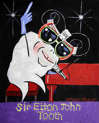 Elton John Wall Art - Painting - Sir Elton John Tooth  by Anthony Falbo