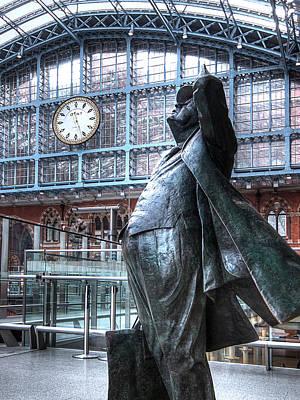 Railway Station Photograph - Sir John Betjeman Statue And Clock At St Pancras Station by Gill Billington