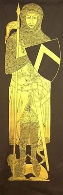 Brass Rubbing Tapestry - Textile - Sir John D'aubernoun by William Streett