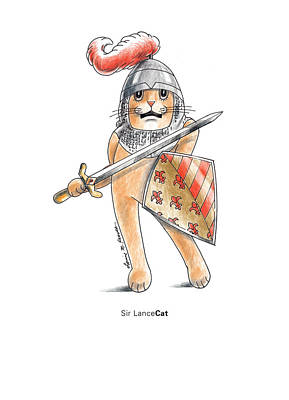 Camelot Drawing - Sir Lancecat by Louise McClain Reeves