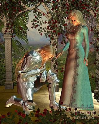 Sir Launcelot And Queen Guinevere Art Print by Fairy Fantasies