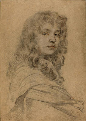 Self-portrait Drawing - Sir Peter Lely, British 1618-1680, Self-portrait by Litz Collection