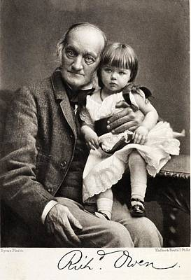 Darwin Fossils Photograph - Sir Richard Owen And Grandaughter by Paul D. Stewart