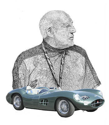 Stirling Moss Drawing - Sir Stirling Moss 1957 Aston Martin by Jack Pumphrey