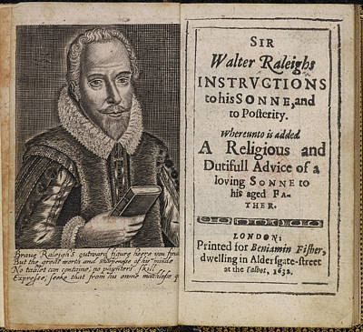 Sir Walter Raleigh's Will And Eulogy Art Print by British Library