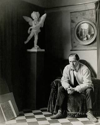 Sir William Orpen With A Cupid Statue Art Print by Malcolm Arbuthnot