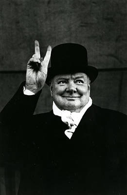 Sir Winston Churchill Peace Sign Art Print by Retro Images Archive