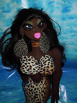 Mama Wata Sculpture - Siren Mermaid Cheetah Tail by Cassandra George Sturges