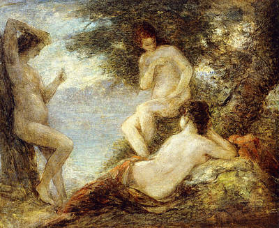 Naturalism Painting - Sirens by Ignace Henri Jean Fantin-Latour