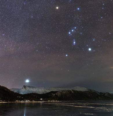 Snowy Night Photograph - Sirius Rising With Orion by Tommy Eliassen