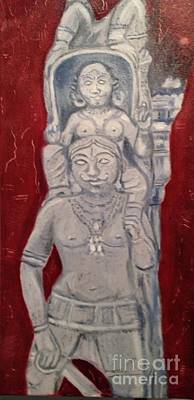 Art Print featuring the painting Sirpam- Sculpture Painting by Brindha Naveen
