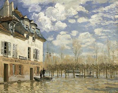 Sisley Boat In The Flood Print by Granger