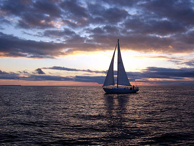 Firefighter Patents Royalty Free Images - Sister Bay Sunset Sail 1 Royalty-Free Image by David T Wilkinson