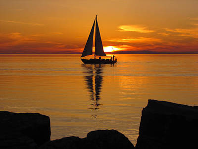 Sister Bay Sunset Sail 2 Art Print by David T Wilkinson
