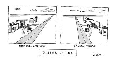 Texas Drawing - Sister Cities by Mike Twohy