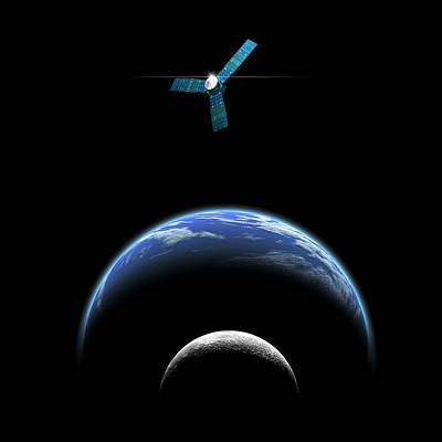 Luminous Globe Photograph - Sister Moon Satellite by Marc Ward