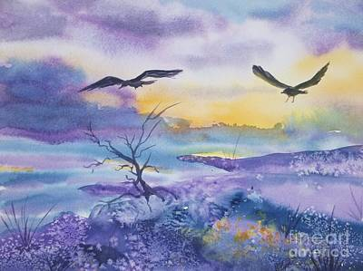 Art Print featuring the painting Sister Ravens by Ellen Levinson