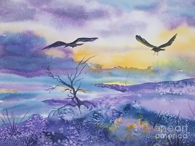 Painting - Sister Ravens by Ellen Levinson