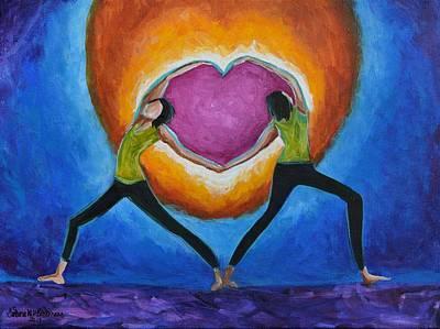 Yoga Pose Painting - Sisterhood Love by Barbara Beckmann